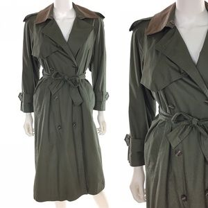 Vintage Double Breasted Olive Trench Coat 💫